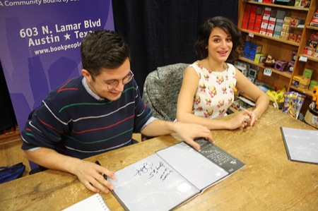 Authors Dean Fleischer-Camp and Jenny Slate (<i>Marcel the Shell With Shoes On</i>) at a recent BookPeople reading. File under: experiences Amazon cannot give you.