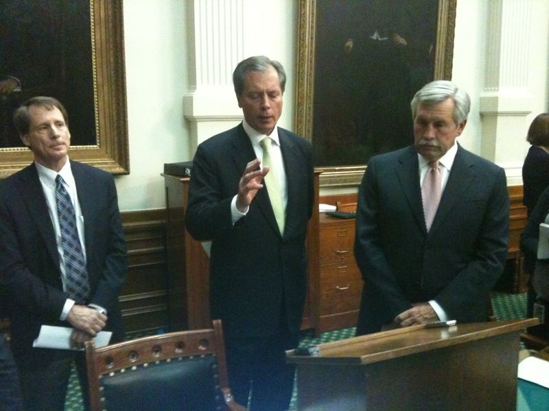Republican senators Robert Duncan (l) and Troy Fraser (r) flank Lt. Gov. David Dewhurst as they discuss passage of the voter ID bill Wednesday night.