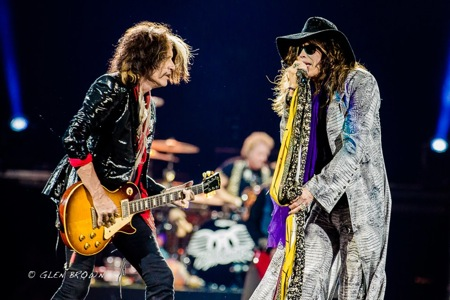 Aerosmith's Joe Perry (l) and Steven Tyler at the Frank Erwin Center, 11.16.12