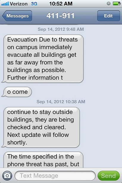 Screengrab of the UT emergency texts to staff and students from this morning