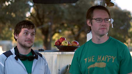 Jonny Mars (l) with writer/director Paul Gordon in The Happy Poet