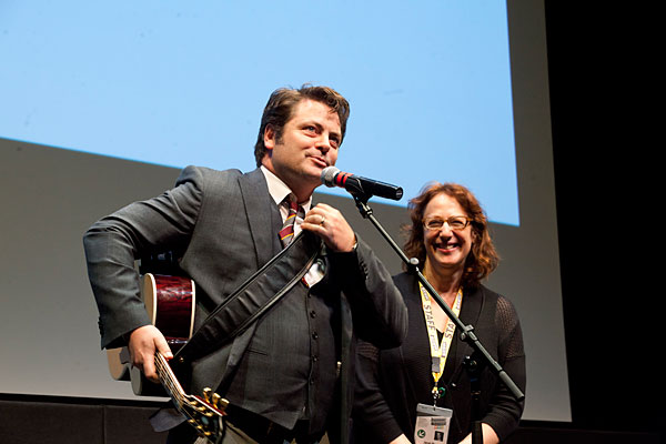 Janet Pierson with Nick Offerman at SXSW 2012