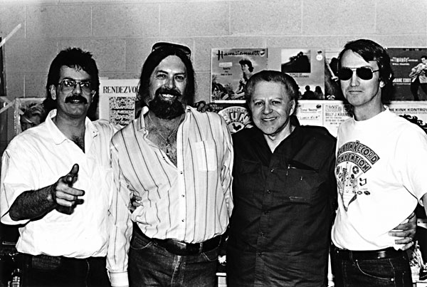 Photo of John Koenig, Augie Meyer, Huey Meaux and Doug Hanners at the 1985 Austin Record Convention