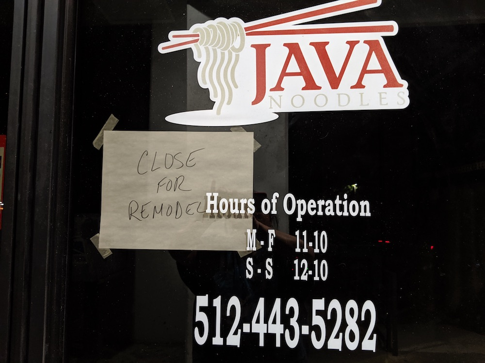 Java Noodles On Oltorf Closed For Remodel Pan Asian