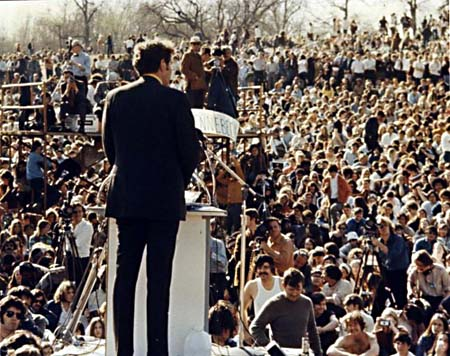 earth day 1970 pictures. Ed Muskie addresses Earth Day