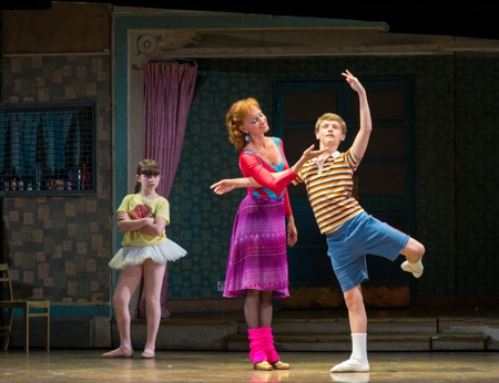 Ben Cook (Billy), Janet Dickinson (Mrs. Wilkinson), and Samantha Blaire Cutler (Debbie) in 'Billy Elliot the Musical.'
