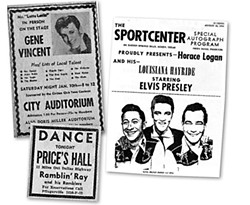 Handbills and ads of Austin's past: Gene, Elvis, and Ray