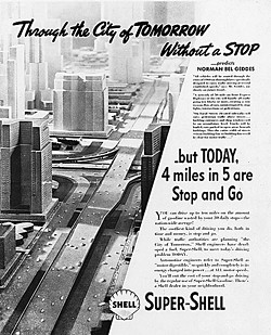 Through the City of Tomorrow Without a Stop, advertisement for Shell Oil advertising campaign ca. 1932-38.