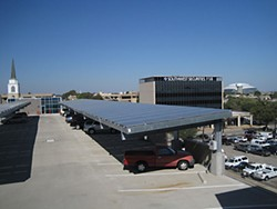 Meridian Solar is building a solar-powered parking structure at LifeWorks, similar to this one at UT-Arlington.