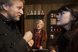 Suzan Zeder (center) works with actors Robert Schleifer and Alexis Scott on <i>The Edge of Peace</i>.