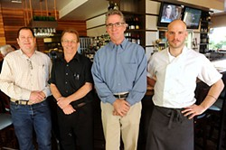 (l-r) General Manager Keith Pennington, bartender David Abel, owner Bick Brown, and Executive Chef Chris Turgeon of Hyde Park Bar & Grill