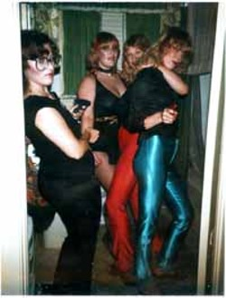 The original Texas Blondes: E.A., Margaret, Jessica, and Martha getting dressed up for a night out