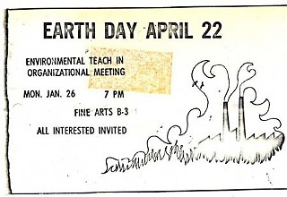 flier for Earth Day planning meeting