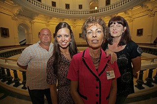 Members of Texas Voices started by San Antonio mother Mary Sue Molnar (c) at the Capitol