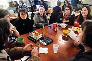 The Young Adult @ Heart book club convenes at Cherrywood Coffeehouse.