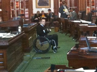 Disability rights advocate Chase Bearden testifies against the Voter ID bill.