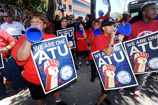 Members of Amalgamated Transit Union 1091 rallied Tuesday against a new Cap Metro labor structure.