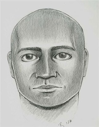 A police sketch of the suspect in the first attack of a woman near Barrera's home