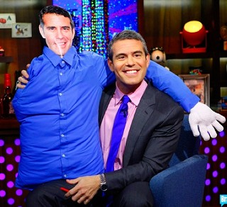 Andy Cohen and Pillow Andy Cohen on Watch What Happens Live.
