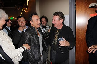 Todd Wolfson caught this magic Austin moment of the Boss with Joe Ely backstage at the Austin Music Awards, and according to Todd, Bruce's handler (left of Springsteen) is neither stroking his chin nor clearing his throat!