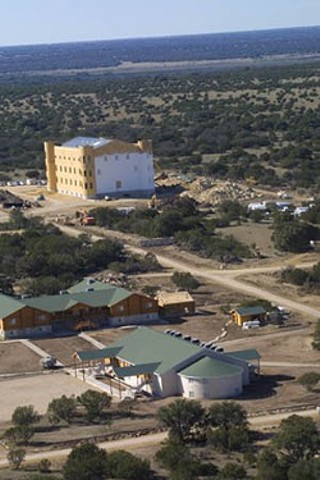 A view of the FLDS' compound from the air, during construction of the group's first-ever temple
