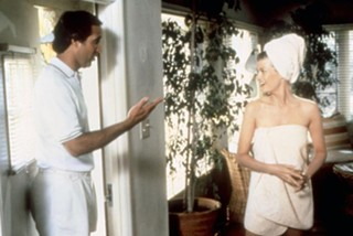Dana Wheeler-Nicholson with Chevy Chase in 1985 comedy 'Fletch'