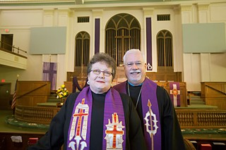 The Rev. John Wright and the Rev. Barbara Ruth of First United Methodist Church