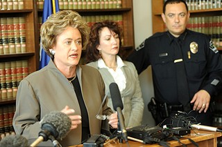 Lehmberg and Austin Police Chief Art Acevedo at a 2009 press conference