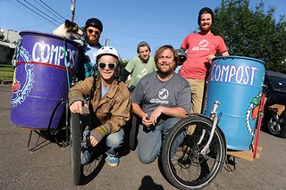 Back row from left: Molly (dog), Ray Ray Mitrano, Spencer Shipley, Dustin Fedako; front row from left: Jon Cook and Eric Goff with the East Side Compost Pedallers