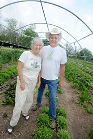 Carol Ann Sayle (l) and Larry Butler at Boggy Creek Farm