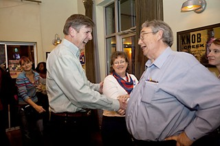 Peck Young (r) was happier on election night, celebrating the passage of 10-1 with former Mayor Bruce Todd.