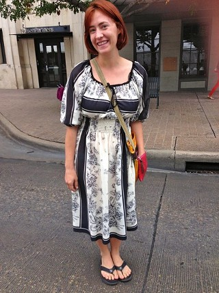 A sweet, scarf-print peasant dress with a colorful bag and flip-flops. It's Austin, folks. Relax.