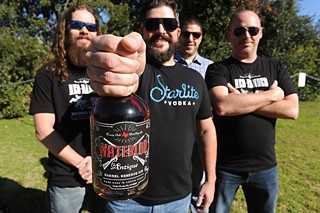 (l-r) Christopher Lamb, Daniel Barnes, Nate Powell, and Joshua Holland of Treaty Oak Distilling