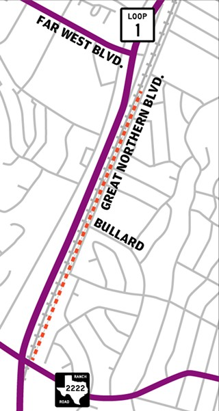 A group of Allandale residents object to a MoPac sound wall proposed along Great Northern Boulevard between RM 2222 and Far West Boulevard, which would rise as high as 20 feet in places. Some residents have suggested moving the wall closer to MoPac on the other side of the railroad tracks.