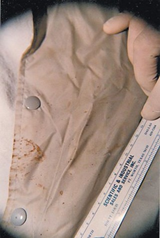 One of the only remaining photos of a bloody jacket found at the scene of Twila Busby's murder in 1993. The state of Texas lost the evidence, which attorneys for Hank Skinner, sentenced to die for the crime, say could contain DNA from the real killer
