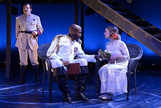 Three's a crowd: Iago (Michael Miller) schemes to spoil the love between Othello (Marc Pouhé) and Desdemona (Sara Cormier).