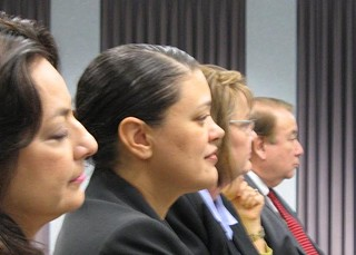 Flashback to 2009: Meria Carstarphen (center) just before the formal announcement that she is the sole finalist in the AISD superintendent search. Now, without warning, she's the sole finalist to head the Atlanta Public Schools system