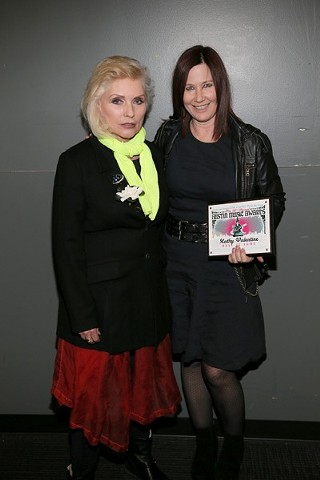 Blondie's Deborah Harry helped induct Kathy Valentine (right) into the Austin Music Awards' Hall of Fame last month.