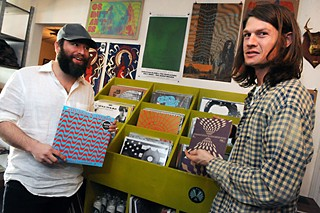 Black Angels Alex Maas and Christian Bland find their wares at RVRB Records.