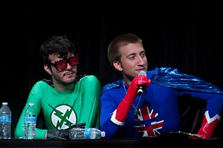 Achievement Hunter's Ray Narvaez Jr. and Gavin Free at an RTX 2013 panel