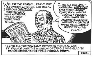 "From ""My Journey to Cannes,"" by Harvey Pekar, art by Gary Dumm"