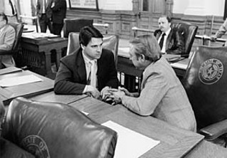 Rick Perry and Pete Laney, 1985</font></b><br>