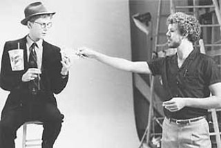 Turk Pipkin assisting Harry Anderson in Houston  at a TV commercial shoot circa 1980