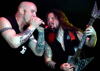 Heavy loss: Damageplan's Pat Lachman and Dimebag Darrell (r) in Selma, Texas, April 2004