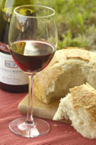 Rosemary/Olive Oil Loaf from Bread Alone with a bottle of André Brunel, Domain de L'Enclos Côtes du Rhône 2003