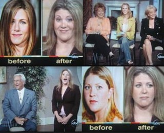 ABC's <i>The View</i> has some fun with Kelly Chandler; the real Jennifer Aniston is top left.