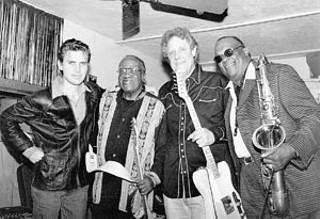 Forget Richard (l-r): Jake Andrews, Joe Guitar Hughes, John Andrews, and Grady Gaines at Etta's in Houston, 2003.