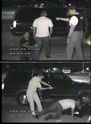 Top: APD Sgt. Don Doyle told police investigators that he was focused on trying to hold onto Rocha's leg when he heard a pop that he thought was a Taser firing. When he looked up over Rocha's right shoulder he says he saw only part of the muzzle of a pistol. Bottom: During her re-enactment, Officer Julie Schroeder said that after realizing her Taser was missing from a pocket in her police vest she pulled her weapon and fired one shot into Rocha's back as he lunged toward Doyle. <br>Photos courtesy Austin Police Department