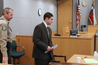 Colton Pitonyak is led into the courtroom before being convicted of murder.