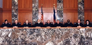 Texas' Court of Criminal Appeals in 1994, the year that Republicans Sharon Keller (far right) and one-term-wonder Stephen Mansfield (far left) were elected to the court. Baird (third from left) would be the last Democrat voted off the court, in 1998.